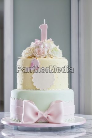 a festively decorated birthday cake in