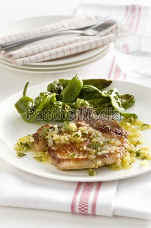 pork chop with an onion and