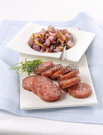 cotechino with vanilla nuts onions and