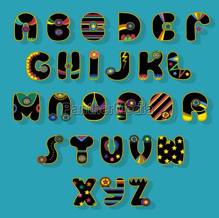 black alphabet superhero style