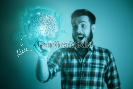 handsome, young, man, with, idea, bulb - 20484615
