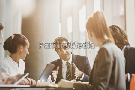 businessman talking leading conference room meeting