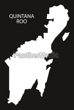 quintana roo mexico map black inverted