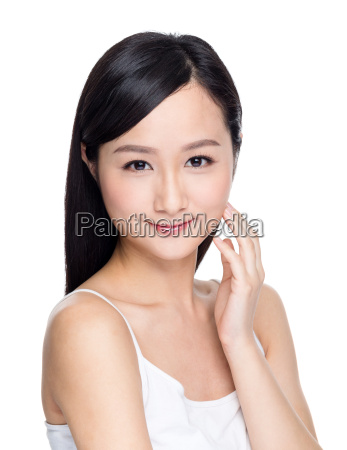 attractive asian woman skin care