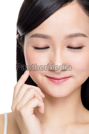 woman closing her eye with perfect