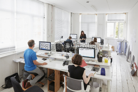 a modern office workstations for staff