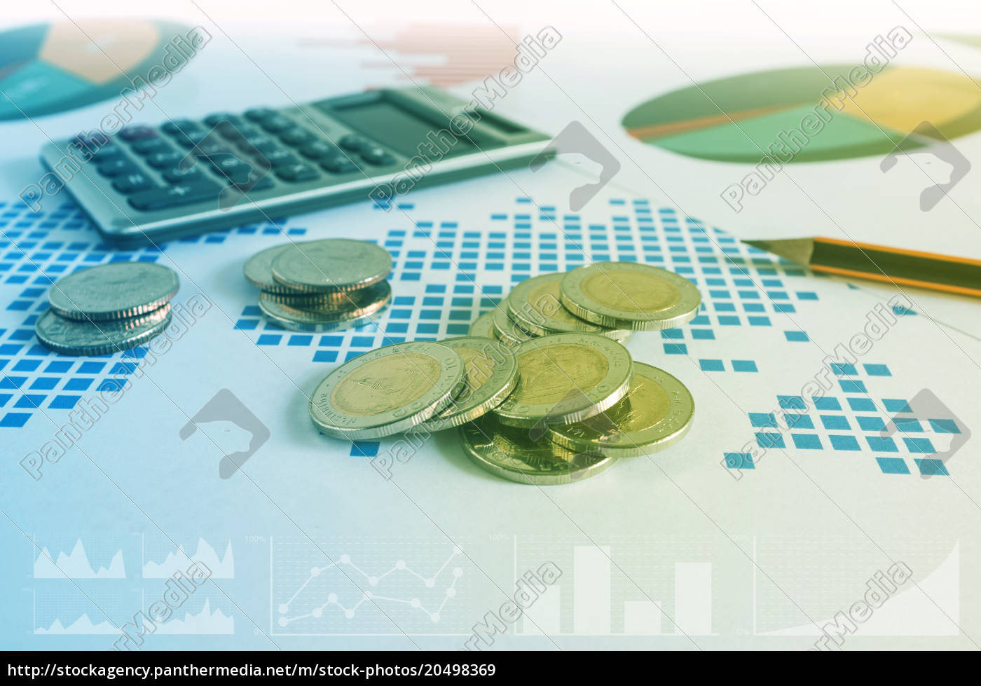 coin, stacks, , calculator, and, pencil, on - 20498369
