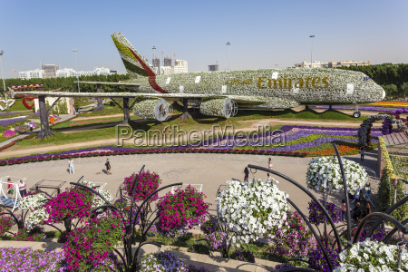 emirates airbus at the miracle garden