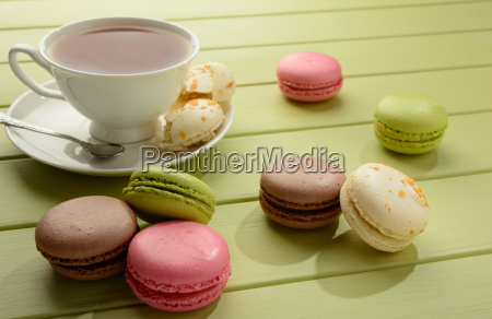 macaroons and cup of tea on