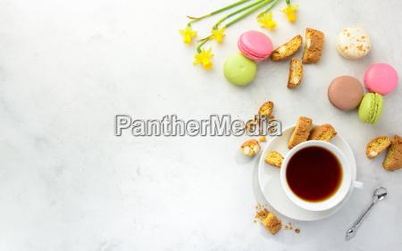 tea with cookies macarons and
