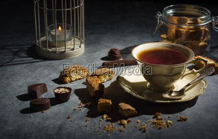 cup, of, tea, , , almond, cookies - 20502223