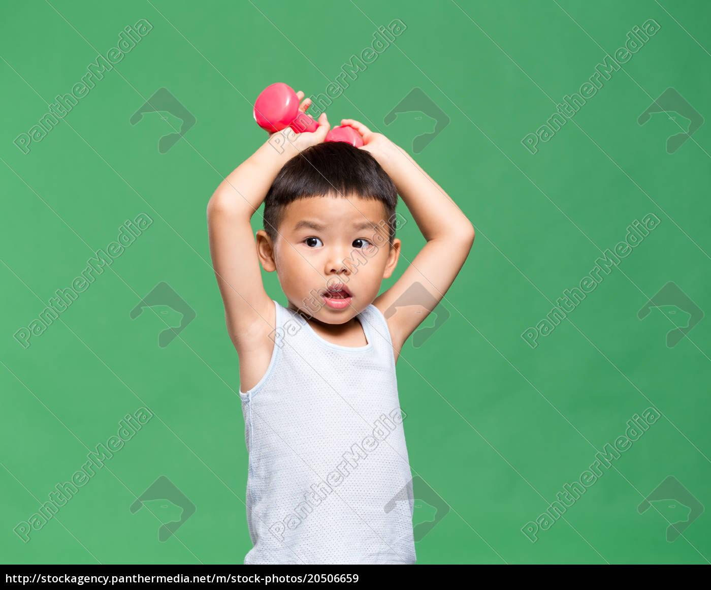 little, boy, lifting, up, dumbbell - 20506659