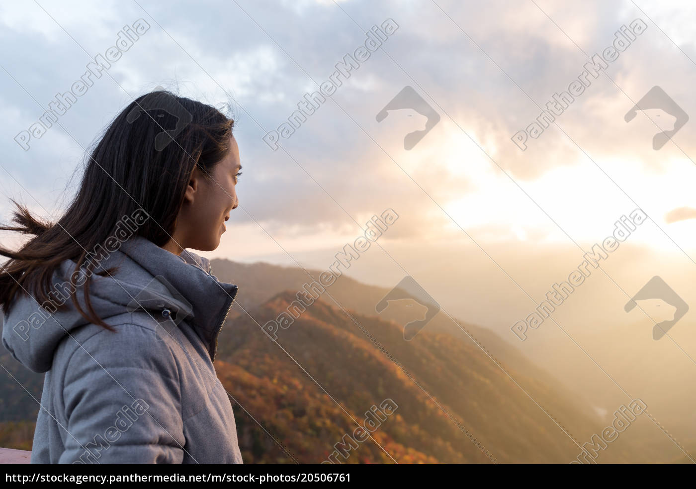 woman, looking, at, the, sunset, at - 20506761