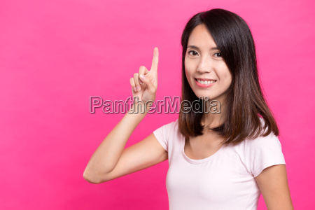 woman, showing, finger, point, up - 20506827