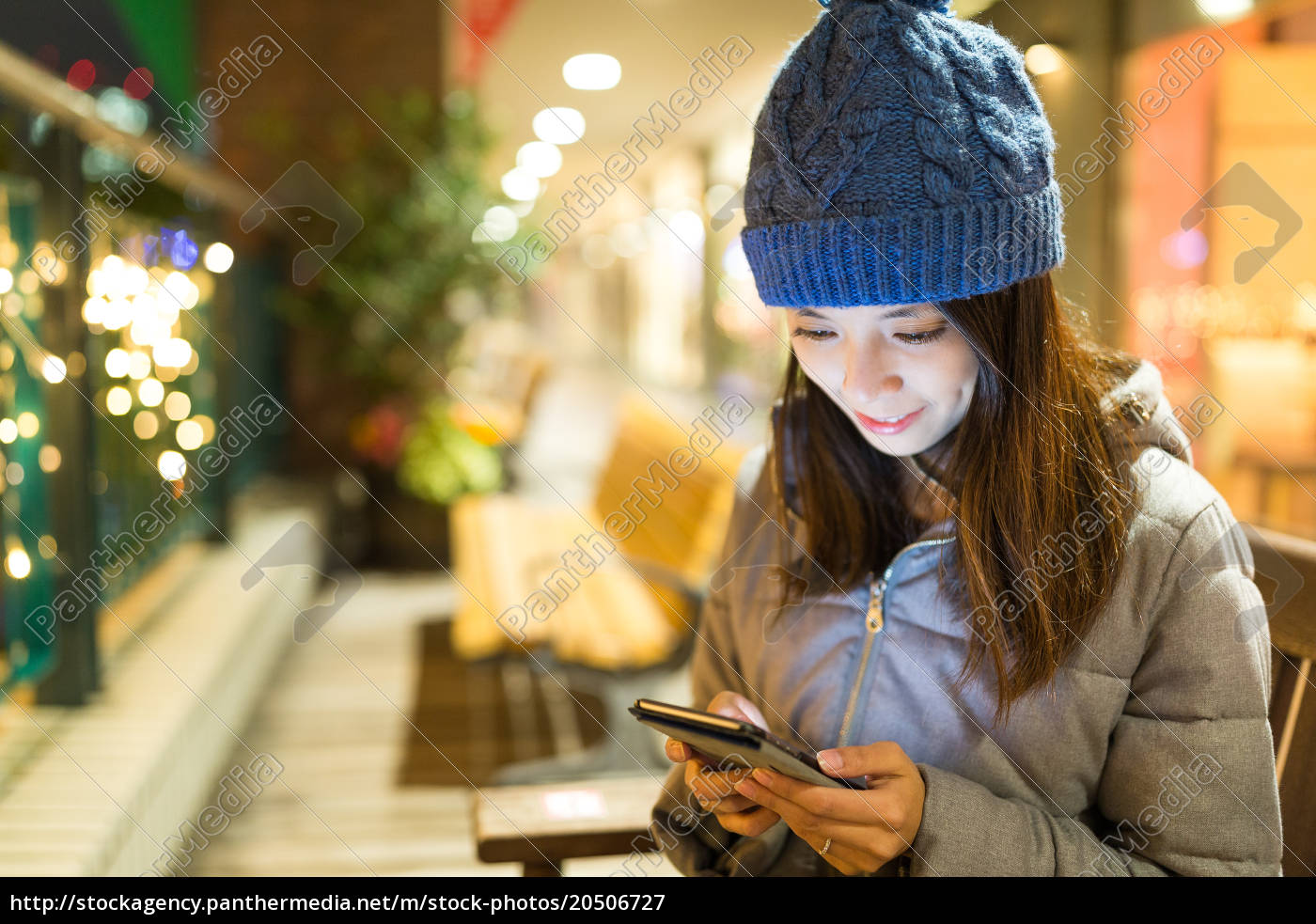 woman, using, mobile, phone, at, night - 20506727