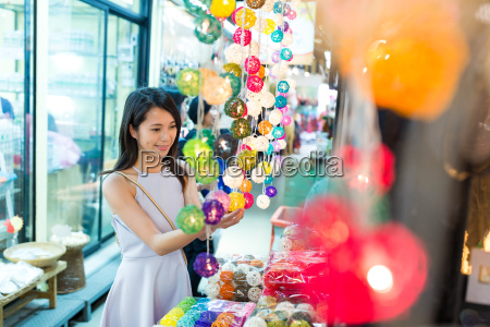 woman shopping in street market