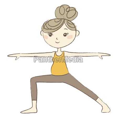 prenatal yoga pregnant woman in warrior
