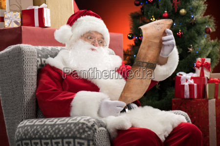 santa claus reading wishlist
