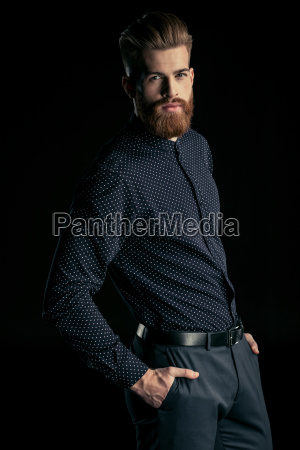 stylish handsome bearded man posing with