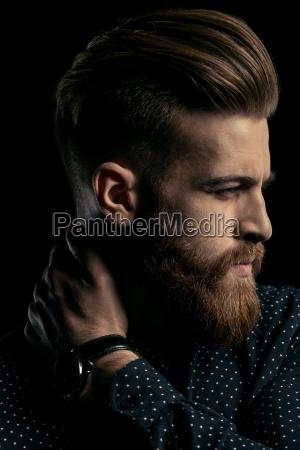 close up portrait of handsome stylish
