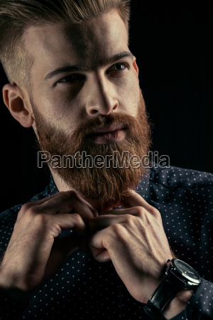 close up portrait of handsome bearded