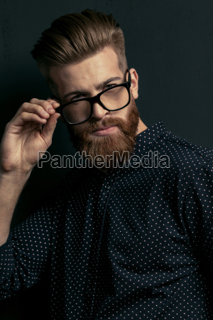 handsome, bearded, young, man, hipster, adjusting - 20508543