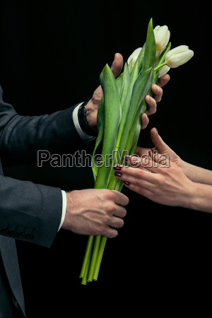 partial, view, of, man, presenting, tulips - 20508603