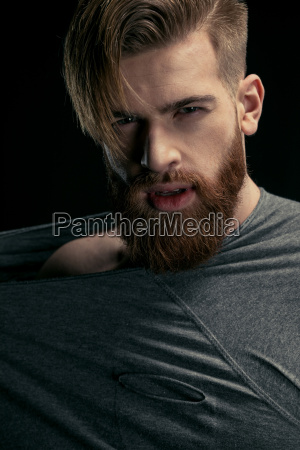 portrait, of, stylish, bearded, man, on - 20508615