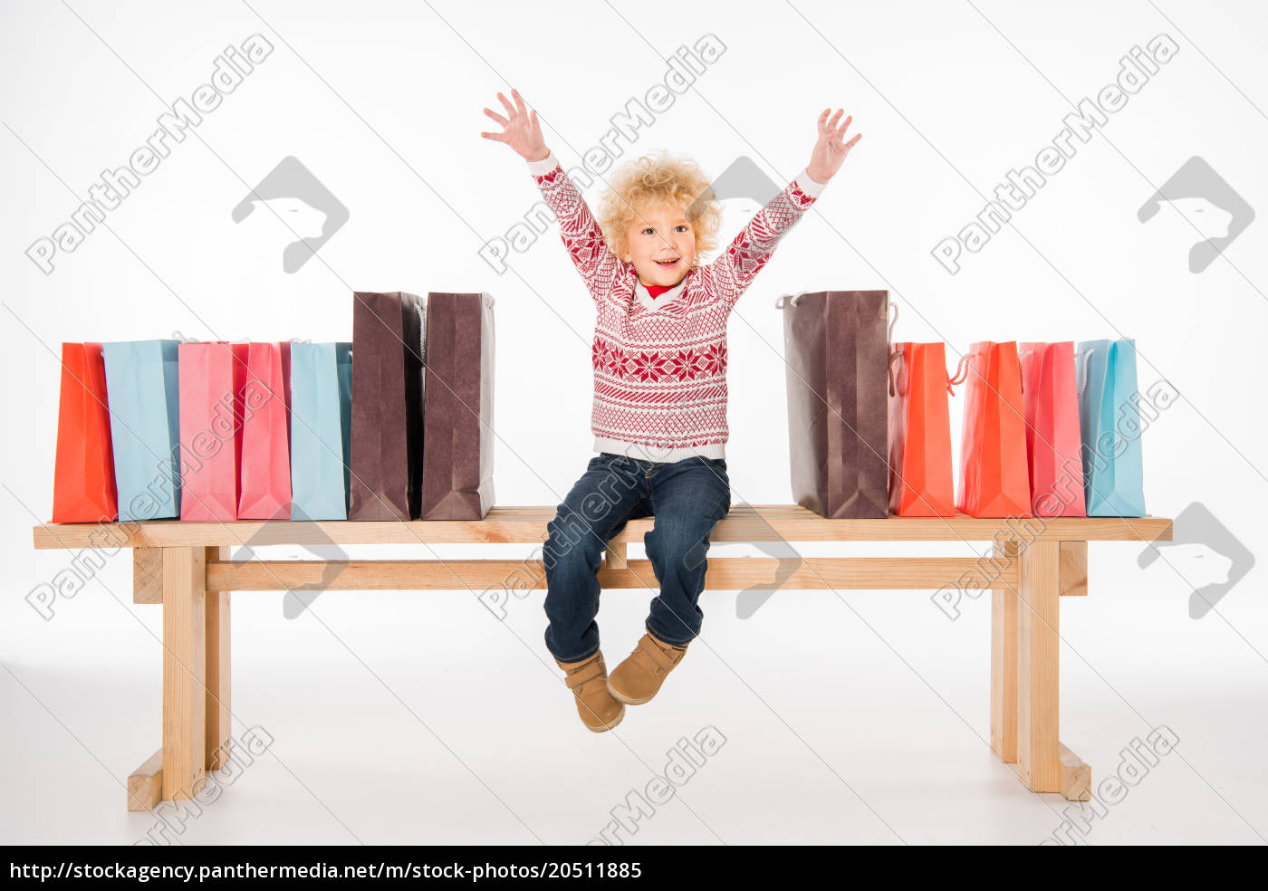 happy, kid, with, pile, of, shopping - 20511885
