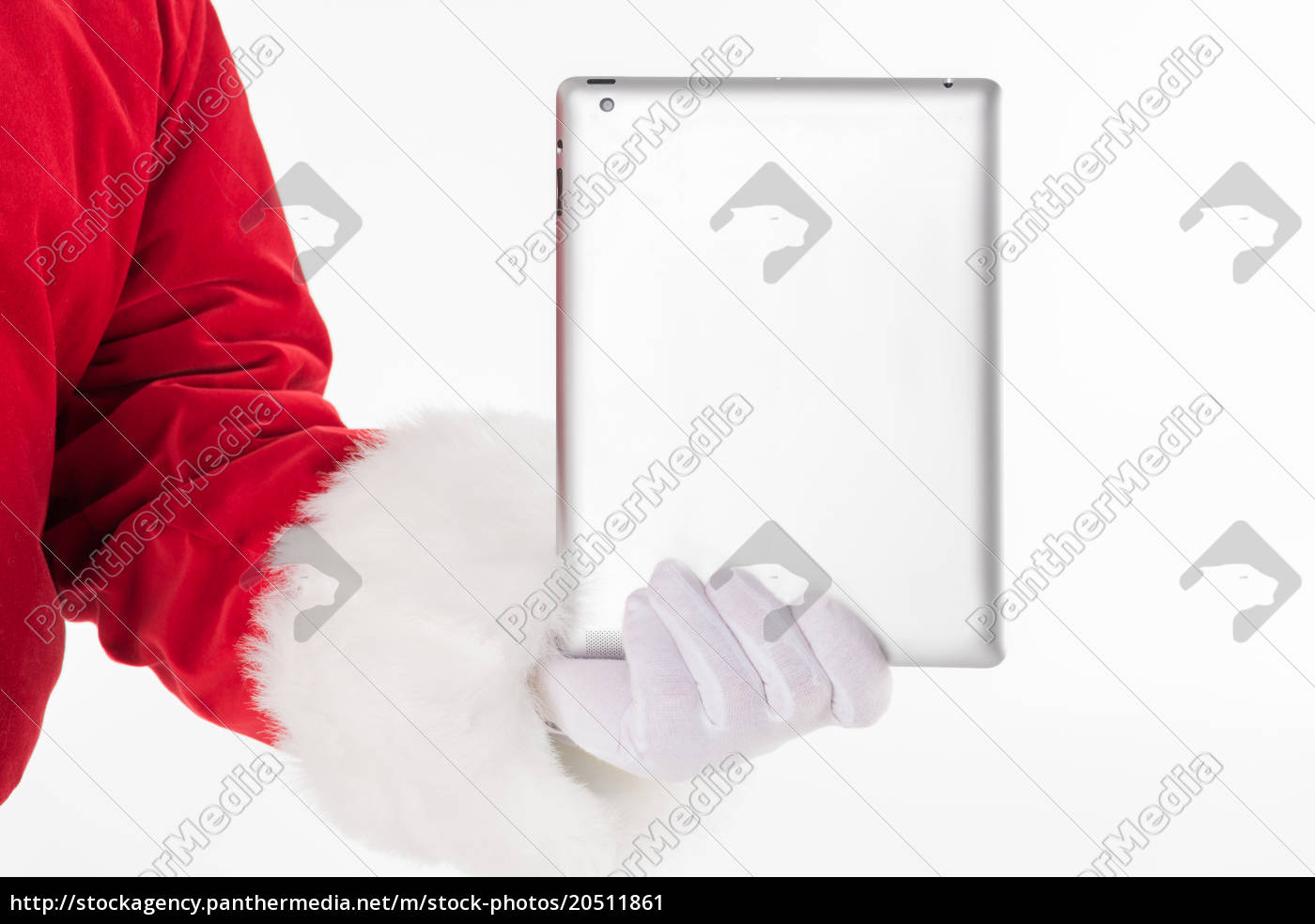 santa, claus, hand, showing, digital, tablet - 20511861