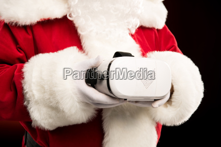 santa claus with virtual reality headset
