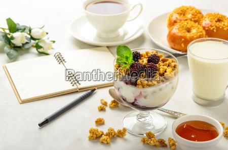 breakfast, of, granola, , buns, brioche, , honey - 20512553