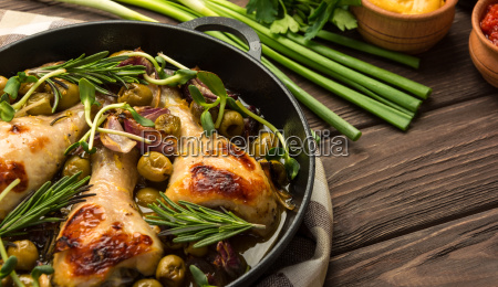 dinner, with, baked, chicken, legs, and - 20512549