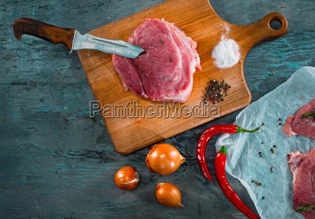 pieces, of, raw, pork, steak, with - 20512125