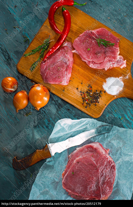 pieces, of, raw, pork, steak, with - 20512179