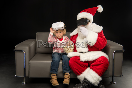 santa, claus, and, child, in, virtual - 20512261