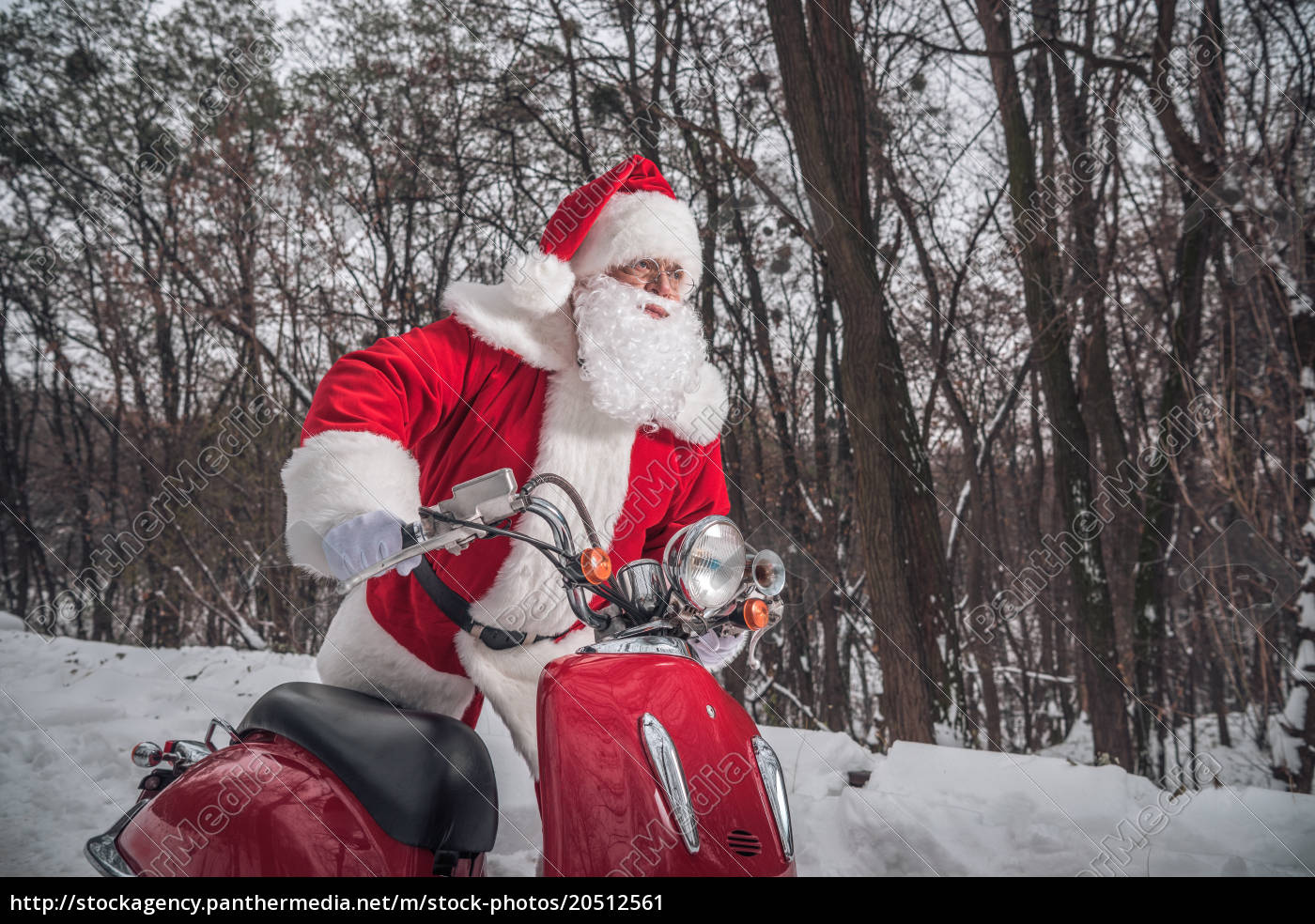 santa, claus, sitting, on, red, scooter - 20512561