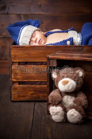 sweet, little, newborn, inside, a, wooden - 20512655