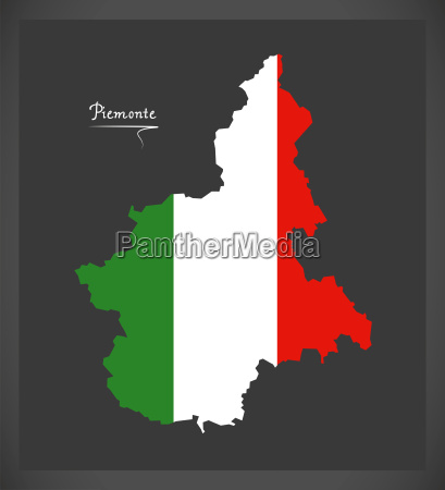 piemonte map with italian national flag