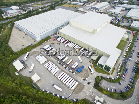 aerial view factory hq and commercial