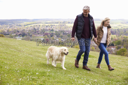 mature couple taking golden retriever for