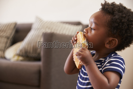young boy eating toasted sandwich at
