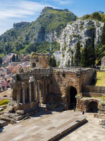 italy sicily taormina ruins of teatro