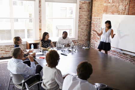 businesswoman at whiteboard giving presentation in