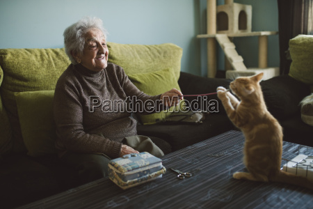 senior woman playing with her kitten