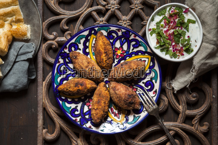 kibbeh oriental meat croquettes with yoghurt