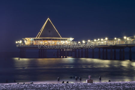 germany usedom heringsdorf pier at night