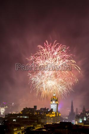 uk scotland edinburgh firework display on