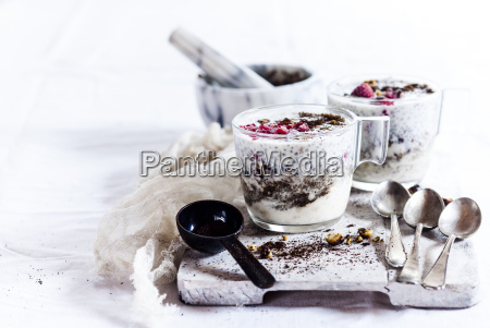glasses of yogurt dessert with chia