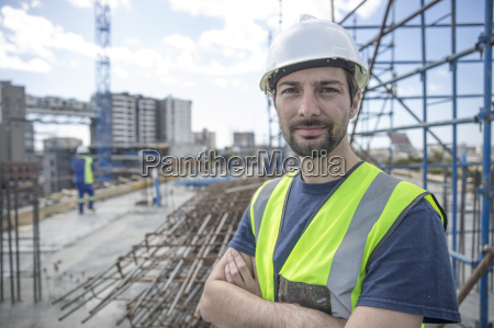 construction worker on construction site with